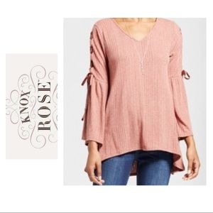 Knox Rose Velvet Lace Up Sleeve Top